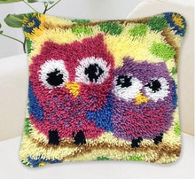 NEW 3D Latch Hook Cushion Kits Gift DIY Two owl Needlework Crocheting Throw Pillow Unfinished Yarn Embroidery Set Pillowcase(China)