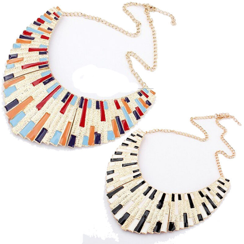 New fashion exaggerated chic fashion gold-plated alloy colorful enamel bib statement collar necklace