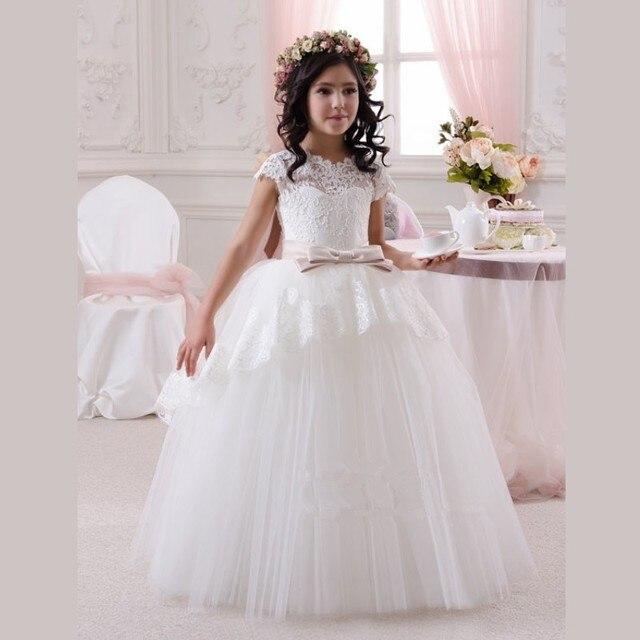 2016 New Design White Tulle Ball Gown Flower Girl Dresses with Cap ...