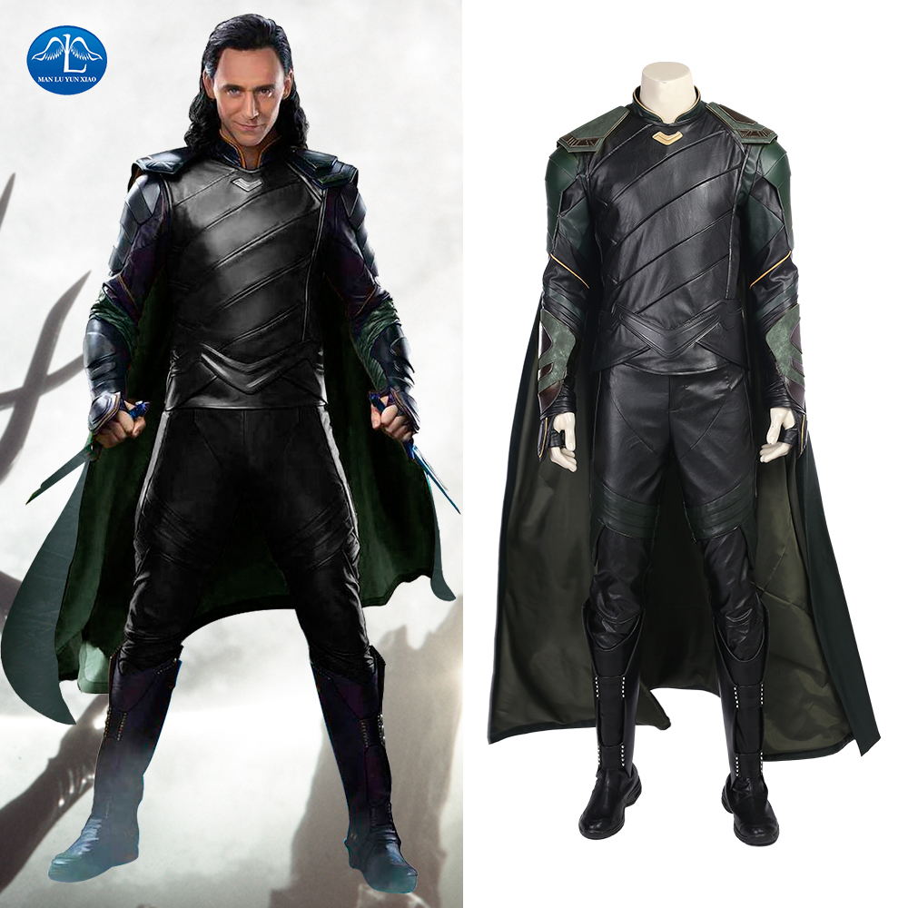manluyunxiao thor ragnarok cosplay costume adult loki cosplay costume men suit leather custom made halloween costumes - Halloween Costumes Prices