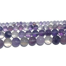 Wholesale Natural Stone Purple Fluorite Round Loose Beads 4 6 8 10 12 MM Pick Size For Jewelry Making DIY Bracelet Necklace