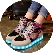 New Women High Top Lace Up LED Flash Light 7 Colors Camouflage Gray Purple Casual Shoes USB Charged EU Size 38