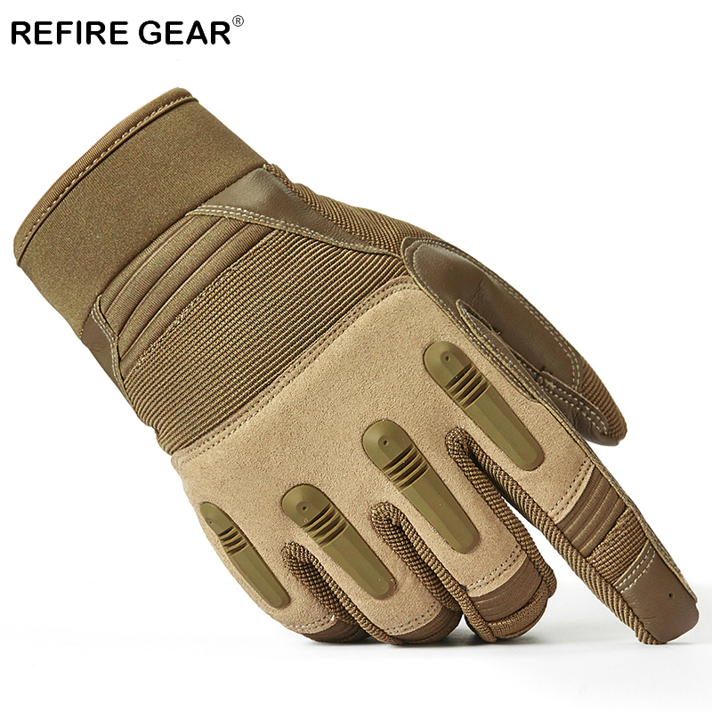 Refire Gear Outdoor Special Forces Military Combat Gloves Men Us Army Soldiers Full Finger Gloves Male Paintball Pu Palm Gloves