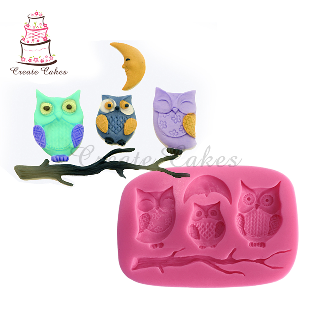 Owls & Moon Silicone Mold Cartoon Animal Fondant Cake Molds Soap Chocolate Mould For Decor Cake Sugarcraft Tools Bakewaresm-452 Cake Molds Bakeware