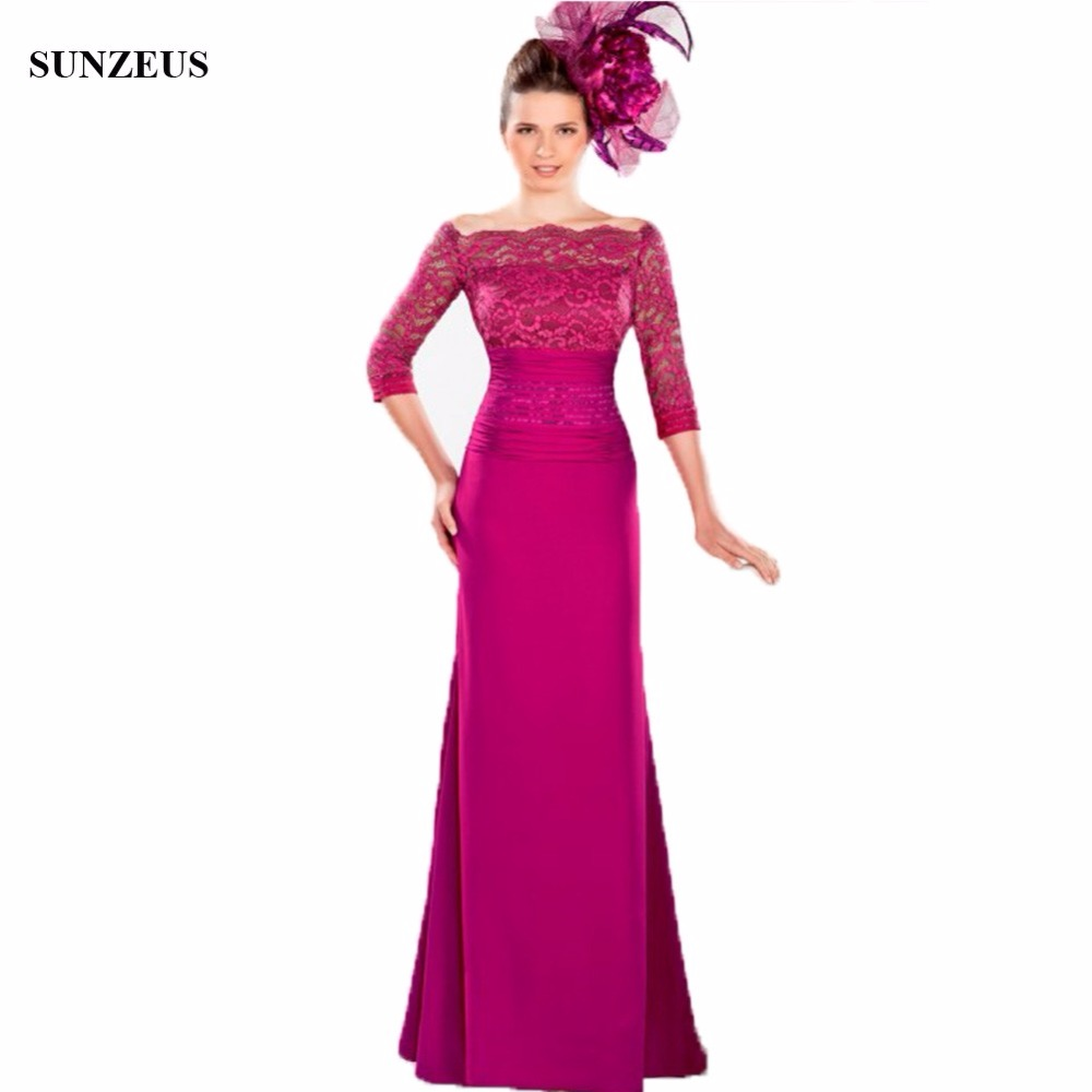 d0d62252f6e Three Qaurter Sleeves Lace Mother Of The Bride Dress Long Fuchsia Party  Gowns Boat Neck Wedding Guest Dress CM022-in Mother of the Bride Dresses  from ...