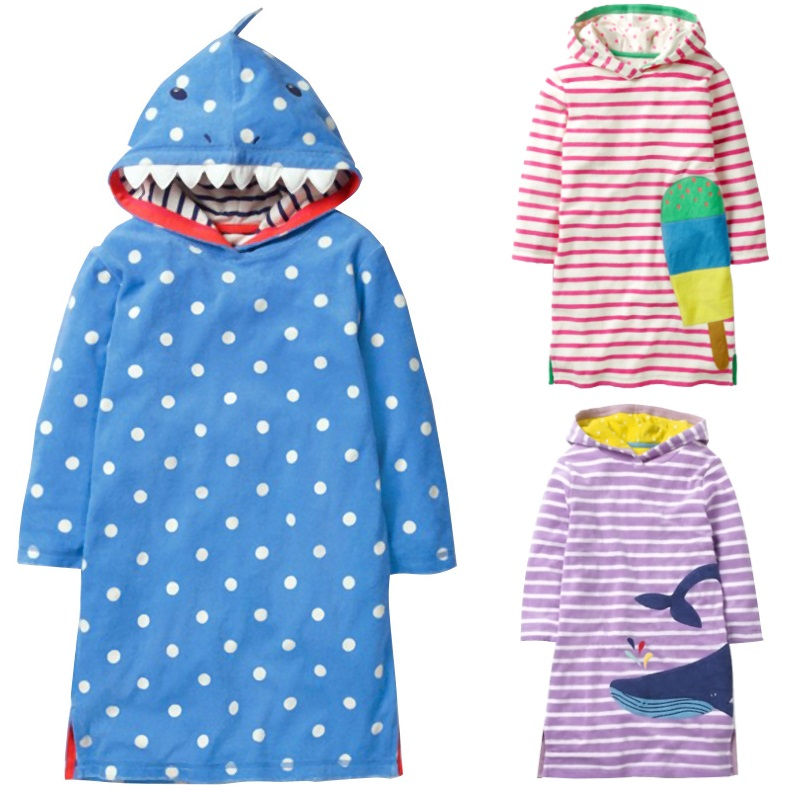18bf49d8bdc6 Hooded Baby Girl One piece Dress Whale Shark Children Dresses Autumn ...