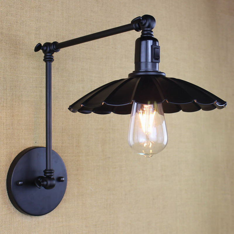 vintage black retro industrial metal wall lamp with long swing arm with switch E27 for workroom bedside bedroom sconce fixture swing arm sconce lamps with long arm industrial wall lamp e27 ac 110v 220v for workroom bathroom bedroom coffee vanity lights