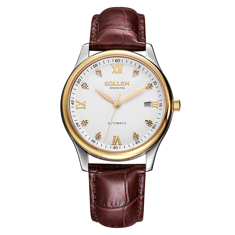 SOLLEN New Brand men Watches automatic mechanical Watch Dress male Casual Sports Wristwatch Stainless Steel Strap and leather sewor new arrival luxury brand men watches men s casual automatic mechanical watches diamonds hour stainless steel sports watch