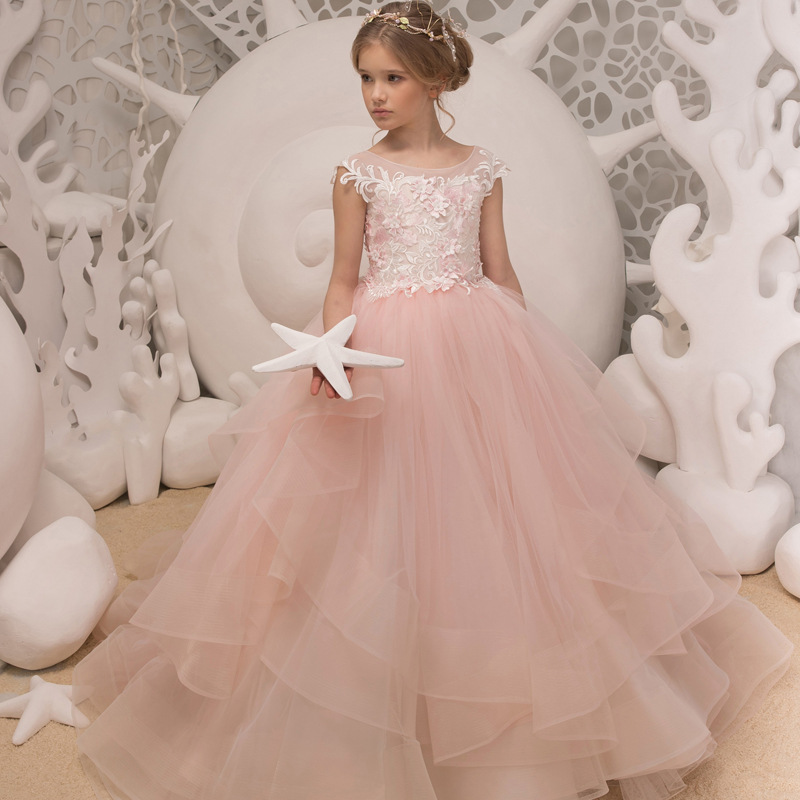 Blush 2019 Flower Girl Dresses For Weddings Ball Gown Cap Sleeves Tulle Lace Long First Communion Dresses For Little Girls