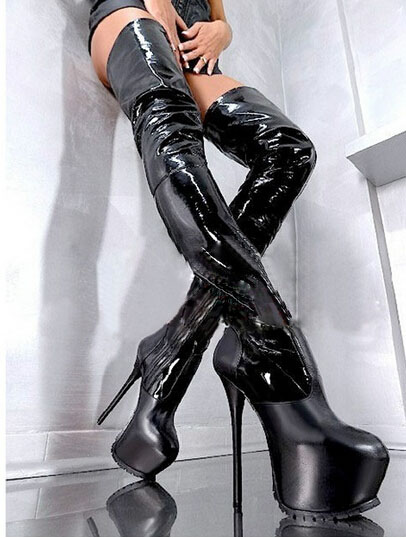 Hot selling thigh high stiletto heel winter boots round toe platform patent leather long boot fashion gladiator women boots