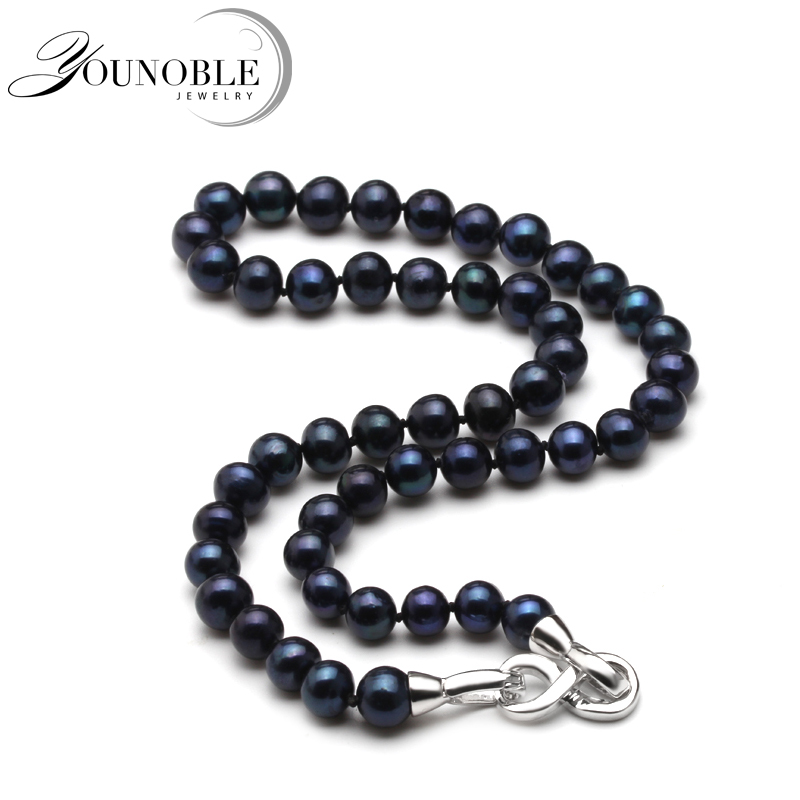 Real 8-9mm round wedding freshwater pearl necklace for women,mother birthday best gift black pearl choker necklace 925 jewelry