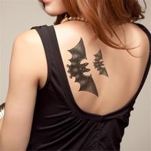 1 Sheet Women Men Black Waterproof Tattoos Temporary Tattoos Bat Tattoo Sticker Body Painting Art Removable Decals Stickers