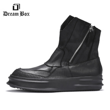 Mens Leather Boots England Thick Bottom Increased Tooling Мартин сапоги