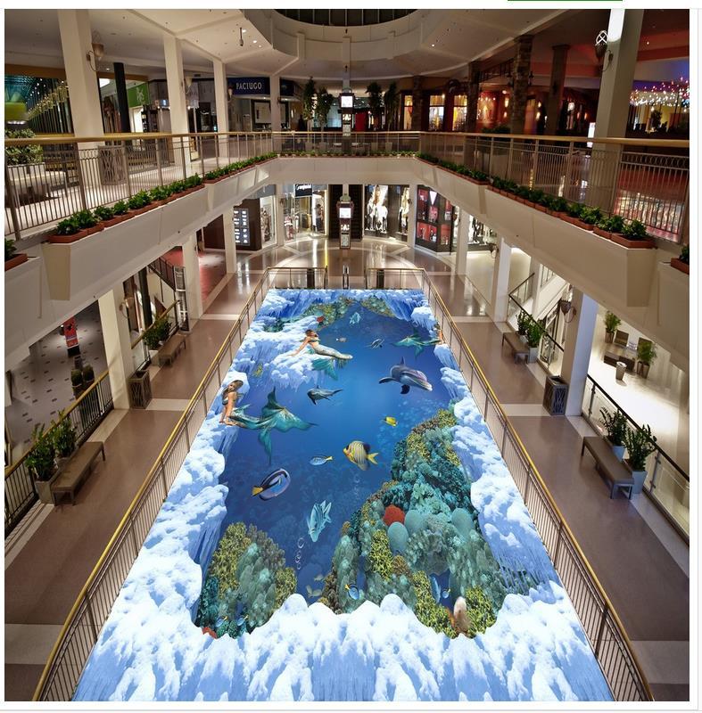 3D wall murals wallpaper floor PVC waterproof floor ocean Custom Photo self-adhesive 3D floor    3d fllor paper