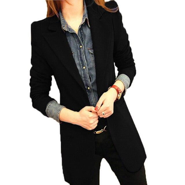 2018 printemps nouvelle arriv e blazer femmes veste mince noir occasionnel femelle blazer long. Black Bedroom Furniture Sets. Home Design Ideas