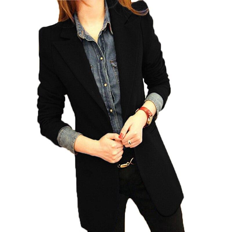 2019 spring new arrival blazer women jacket slim Black female casual blazer Long suit jacket plus size women clothing E507