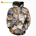 ACTIONCLUB 2017 Spring New Fashion Mens Hoodies And Sweatshirts 3D Print Animal Cats Heads Coat HipHop Coats Casual Sportswear