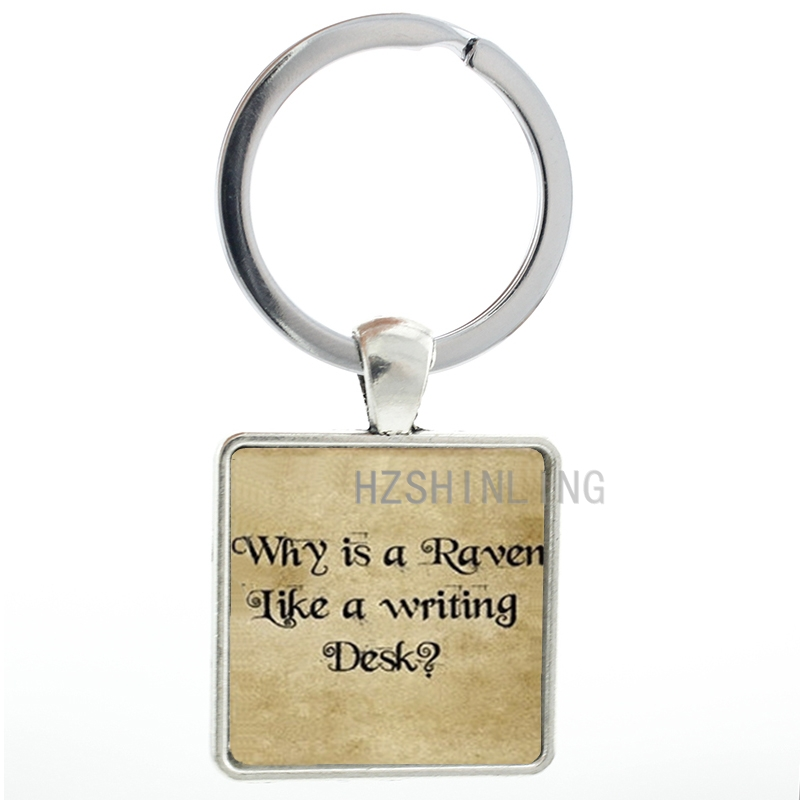 Fashion men women jewelry case for Hot Wonderland Quote keychain Is a Raven Like a Writing Desk key chain ring AA100