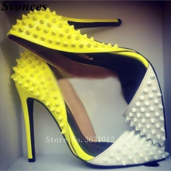 2018 So New Kate Yellow White Spikes Rivets Studs D'Orsay & Two-Piece Women Pumps High Heels Sexy Lady Point Toe Plus Size 35-43 women silver black rhinestone high heels with spikes sexy women pumps with spikes rivets crystal evening shoes with spikes