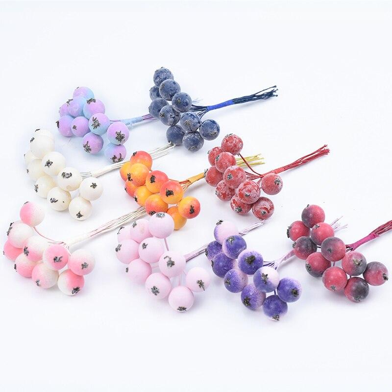 10pcs/bundle Mini Artificial Fruits Foam Cherry Christmas Decorations For Home Wedding Diy Garland Gifts Box Cheap Fake Plants