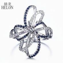 HELON 6,5 мм круглое цельное 10 к белое золото 0.6ct натуральный сапфир и бриллианты полукрепление обручальное кольцо Свадебные драгоценные камни ювелирные изделия