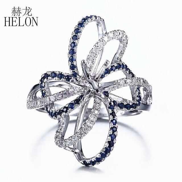 HELON 6.5mm جولة قص الصلبة 10 K الأبيض الذهب 0.6ct الياقوت و الماس الطبيعي شبه جبل خاتم الخطوبة الزفاف الأحجار الكريمة والمجوهرات