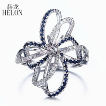 HELON 6.5mm Round Cut Solid 10K White Gold 0.6ct Natural Sapphire & Diamonds Semi Mount Engagement Ring Wedding Gemstone Jewelry