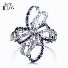 HELON 6.5mm Yuvarlak Kesim Katı 10 K Beyaz Altın 0.6ct Doğal Safir & Diamonds Yarı Dağı Nişan Yüzüğü Düğün taş Takı