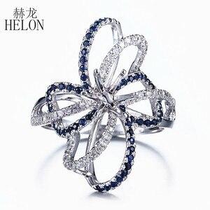 Image 1 - HELON 6.5mm okrągły Cut stałe 10 K białe złoto 0.6ct naturalny szafir i diamenty Semi Mount pierścionek zaręczynowy ślub biżuteria z kamieni szlachetnych