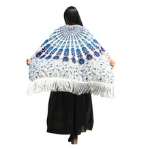 New Design Bohemian Feather Printed Tassels Shawl Fairy Ladies Pashmina Costume Accessory High Quality Women Scarves Apr 11