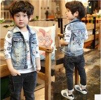Розничная продажа новая детская одежда жилет Дети милый джинсовый жилет для мальчиков мода письмо Trend удобные подраздел верхняя одежда