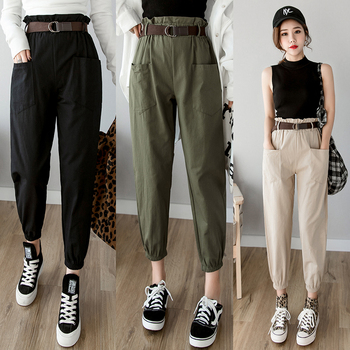 Women pants 2019 spring summer fashion female solid high waist loose harem pant pencil trousers casual cargo pants streetwear 1
