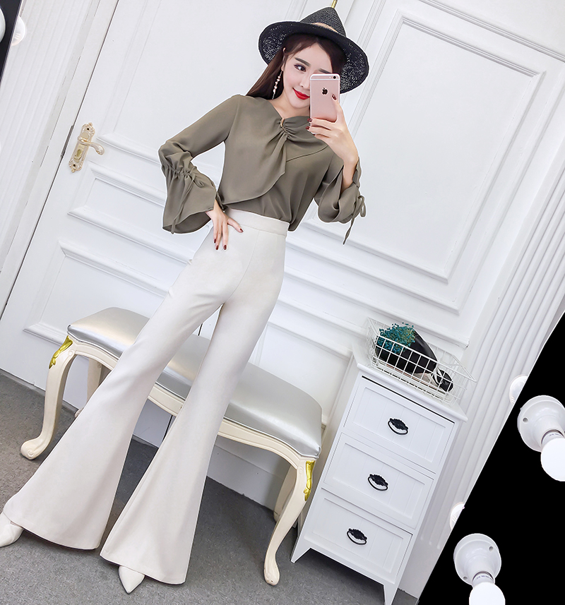 korean fashion bind chiffon blouse sleeve design T-shirt flares pants long trousers 2 pc ...