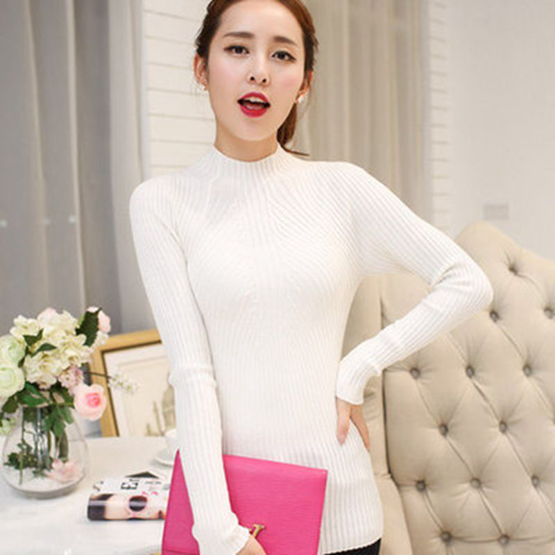 New Fashion Wanita turtleneck sweater 2018 Kasual musim semi wanita - Pakaian Wanita - Foto 4