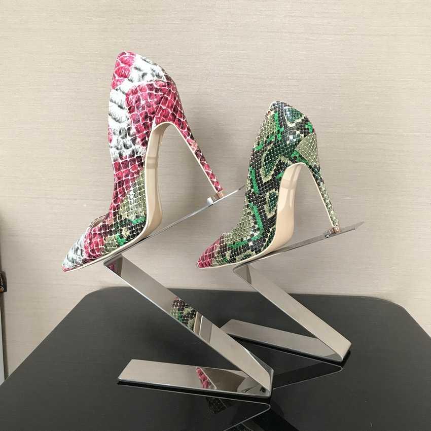 2018春ブランド靴女性ハイヒールレディースレディパンプスヒール靴レディース靴ヘビプリントベージュ底8 10 12センチメートル