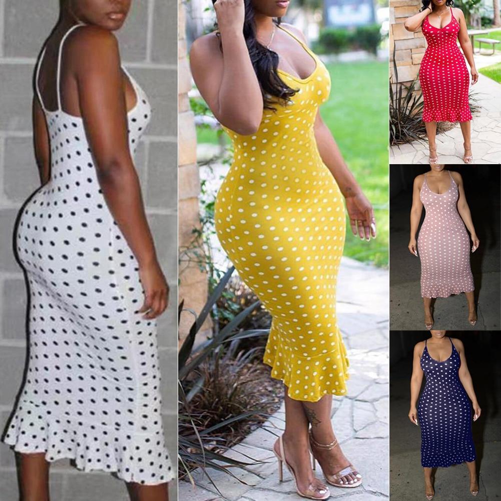HTB1OU8TRQzoK1RjSZFlq6yi4VXaM 2019 Women Maxi Summer Beach Casual Point Long Dress Sexy Strap Tunic Waist Hot