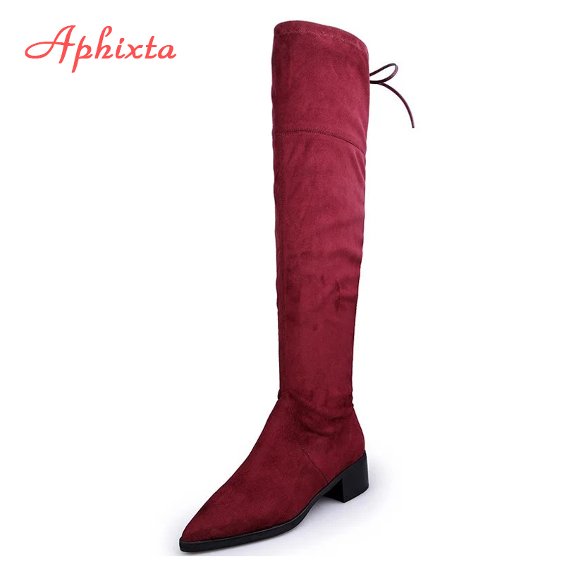 Aphixta Women Stretch Faux Suede Thigh High Boots Sexy Winter Fashion Over the Knee Boots Long Wood Heels Woman Shoes Wine Black
