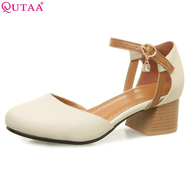 $ US $24.57 QUTAA 2018 Women Pumps Square High Heel Round Toe PU Leather Buckle Crystal Ankle Strap Beige Ladies Wedding Shoes Size 34-43