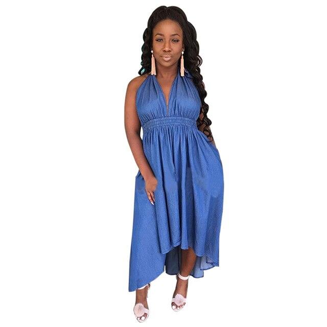 77a6bc0d36acdf Nowy Kobiety Sukienka New Fashion Designer Luźne Dżinsy Sukienki Letnie  Casual Bez Rękawów Damskie eleganckie Sukienki