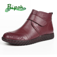 цены PEIPAH 2019 Handmade 100% Genuine Leather Winter Women Boots Botas Mujer Solid Slip On Snow Ankle Boots Shoes Flat Boots