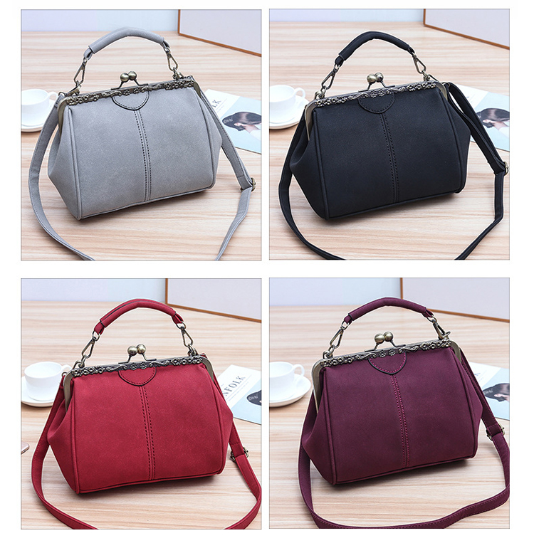 Women PU Leather Purse Retro Fashion Top Handle Handbag Kiss Lock Crossbody Shoulder Bag for Ladies (4)
