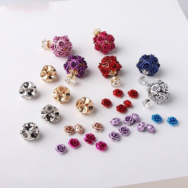 New Korean Version Of Fashion Accessories Diy Homemade Zircon Stud Earrings Rose Bottom Bracket Material Package