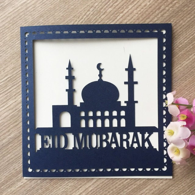 20pcs 2018 New Laser Cut Ramadan Decoration Event Party Supplies Happy Eid Mubarak Words Invitation Blessing Card Decora Card