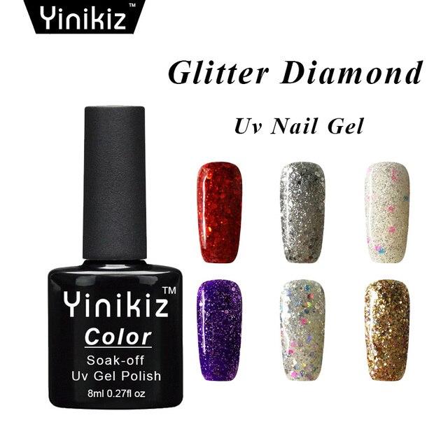 US $2.16 |Yinikiz Bright Colors Diamond UV Gel Nail Polish with Sequins 8ML  Beauty Soak off Glitter Gel Lacquer Nail Art-in Nail Gel from Beauty & ...