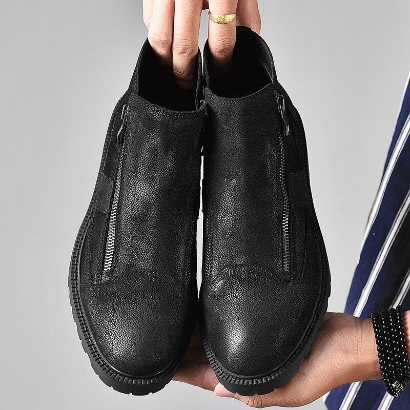 Fotwear hommes botte en cuir pleine fleur hommes travail noir chaussures hiver botte en peluche avec zip doublure en micropolaire douce pour plus de chaleur - 6