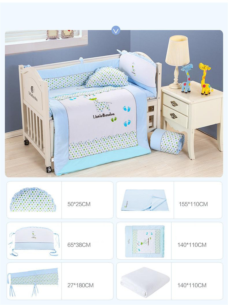 7 Pieces Baby bedding Sets Small Deer Button Printing Seven Sets Pillowx2+Bed Sheets+Bedside+Bed Cushions+ Quilt +Sheets Core11