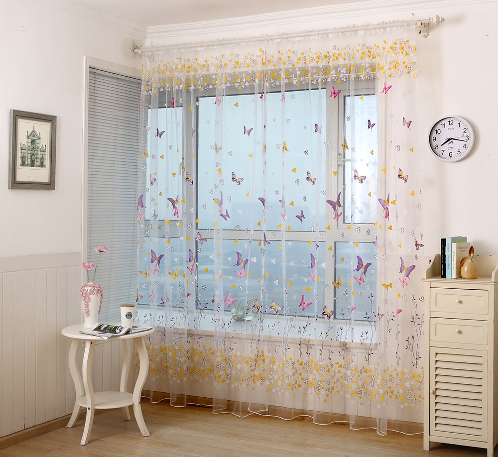 Rustic Living Room Curtains 1 Pcs Butterfly Curtains Window Screens Door Balcony Modern Living