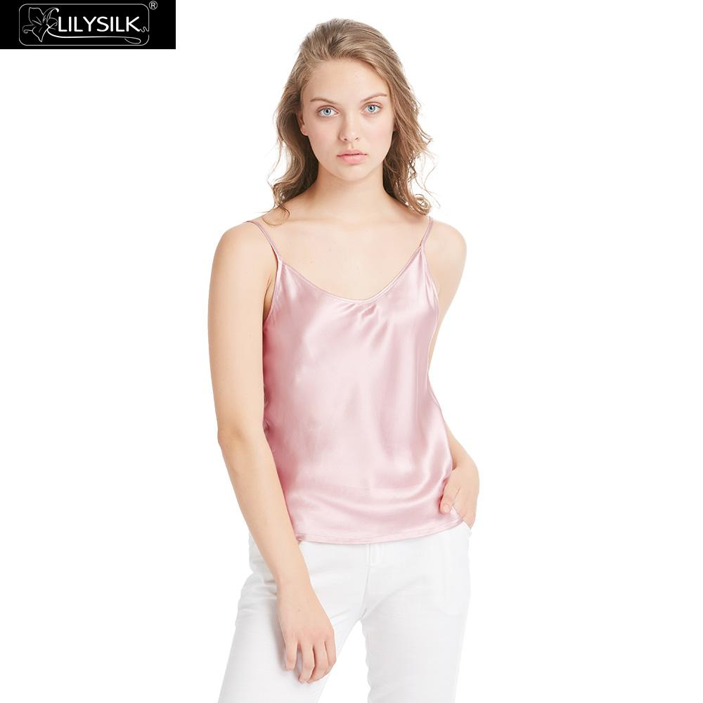 LilySilk Camisole Top Women Silk 100 Real Pure Mulberry Charmeuse 19MM V Neck Basics Tops Ladies Lingerie Vest Free Shipping-in Camis from Women's Clothing