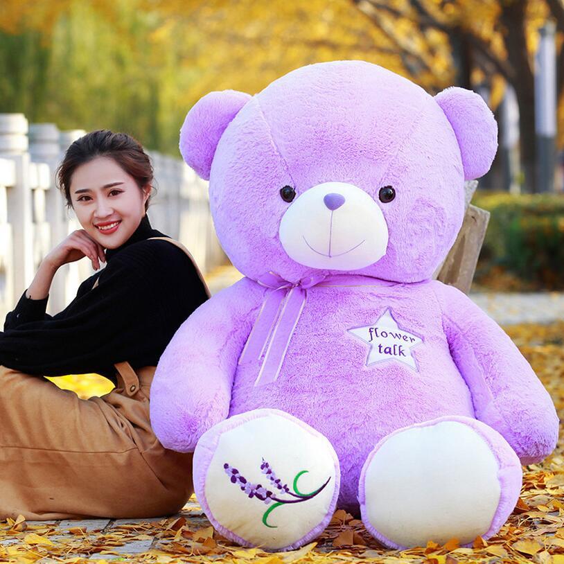 Új, nagy méretű, szép lila medve plüss játék levendula mackó baba karácsonyi ajándék