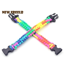 New Arrival LGBT Rainbow Paracord Survival Bracelets Colors Handmade Outdoor Jewelry Hiking Climbing Great Gift Friends Unisex